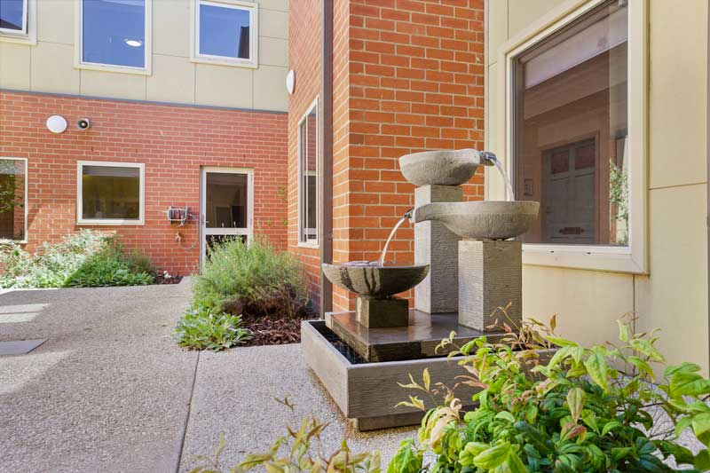 Doutta Galla Footscray - outside courtyard with fountain