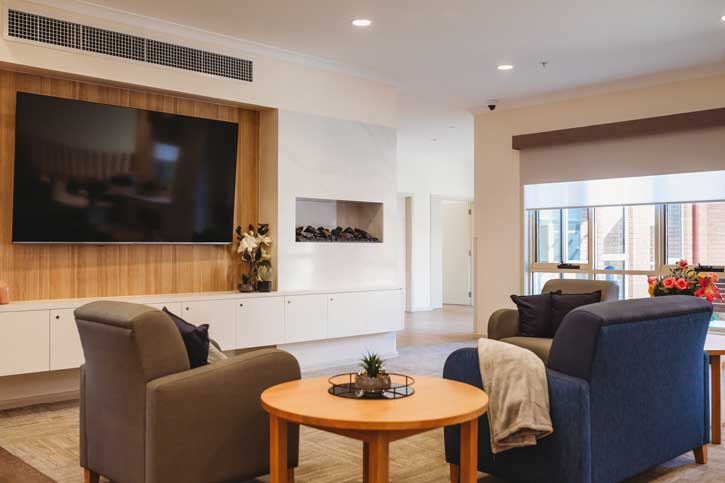 Doutta Galla Harmony Village aged care - lounge room and television
