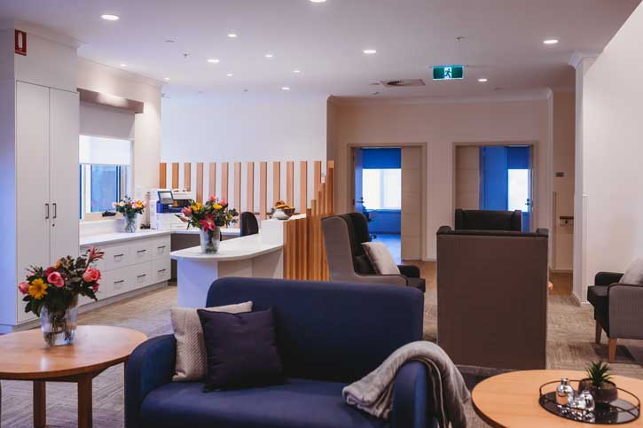 Doutta Galla Harmony Village aged care - sitting room and nurse station