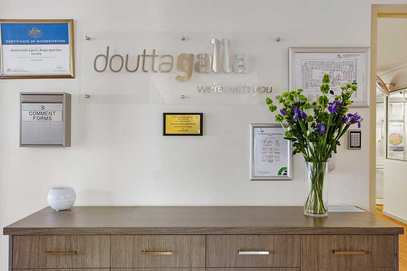 Doutta Galla Lynch's Bridge - sign, certificates and flowers in reception area