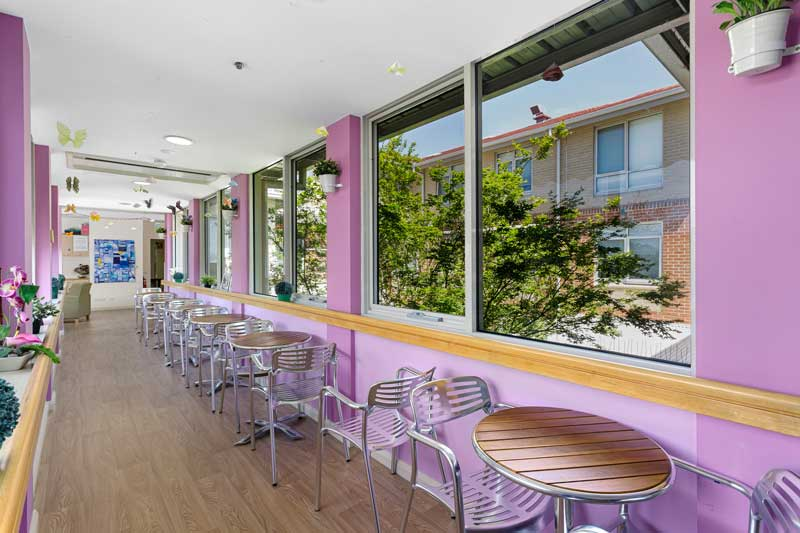 Doutta Galla Queens Park aged care - cafe tables