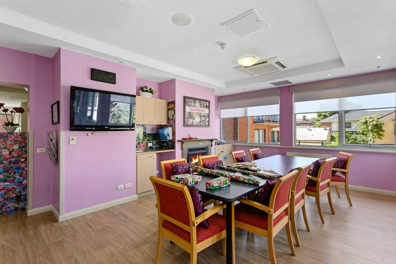 Doutta Galla Queens Park aged care - craft and multipurpose room with television