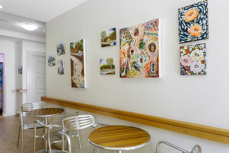Doutta Galla Queens Park aged care - cafe area with paintings