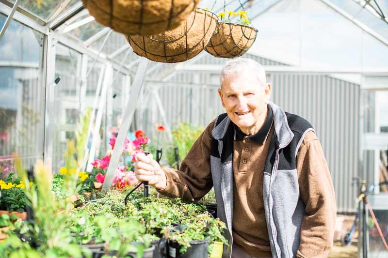 Doutta Galla Harmony Village retirement - senior man gardening in greenhouse